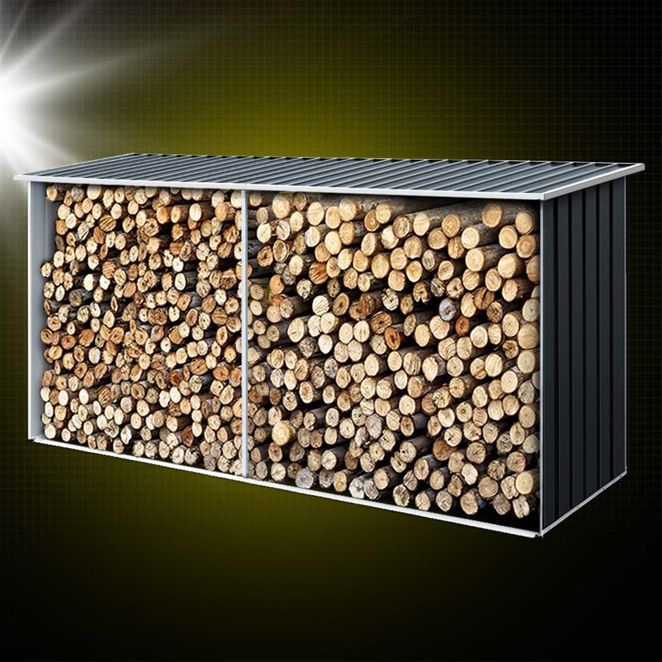 Giantz Log Storage Shed Galvanised Steel Outdoor Firewood 3.5m³ Shelter