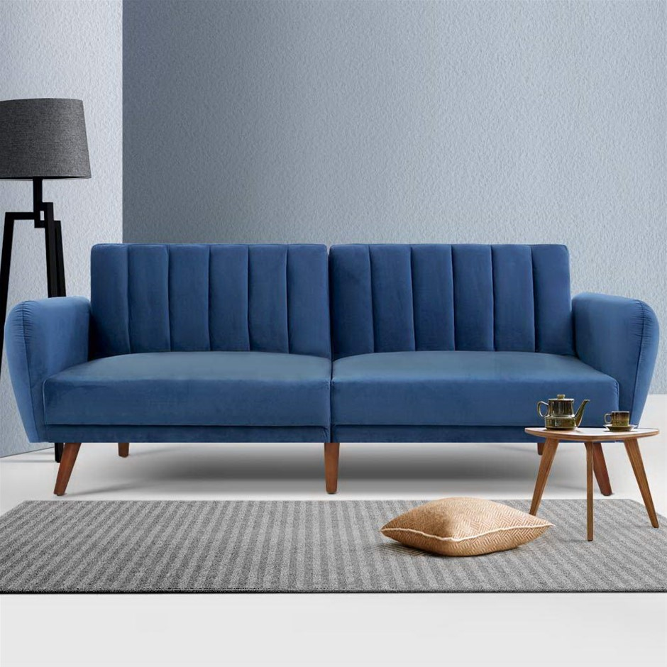 Artiss Sofa Bed 3 Seater Futon Couch Recline Chair Wooden 207cm Velvet Blue