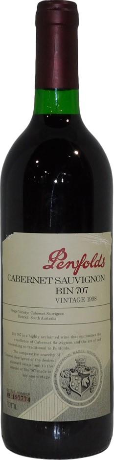 Penfolds Bin 707 Cabernet Sauvignon 1998 (1 x 750mL), SA. Cork