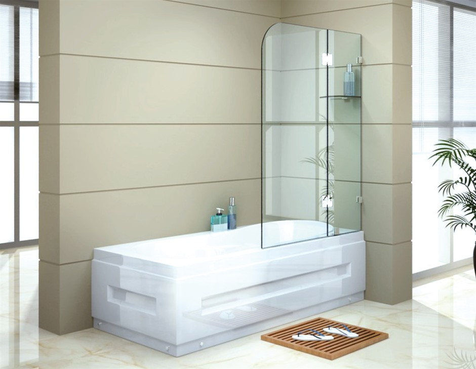 900 x 1450mm Frameless Bath Panel 10mm Glass Shower Screen Della Francesca