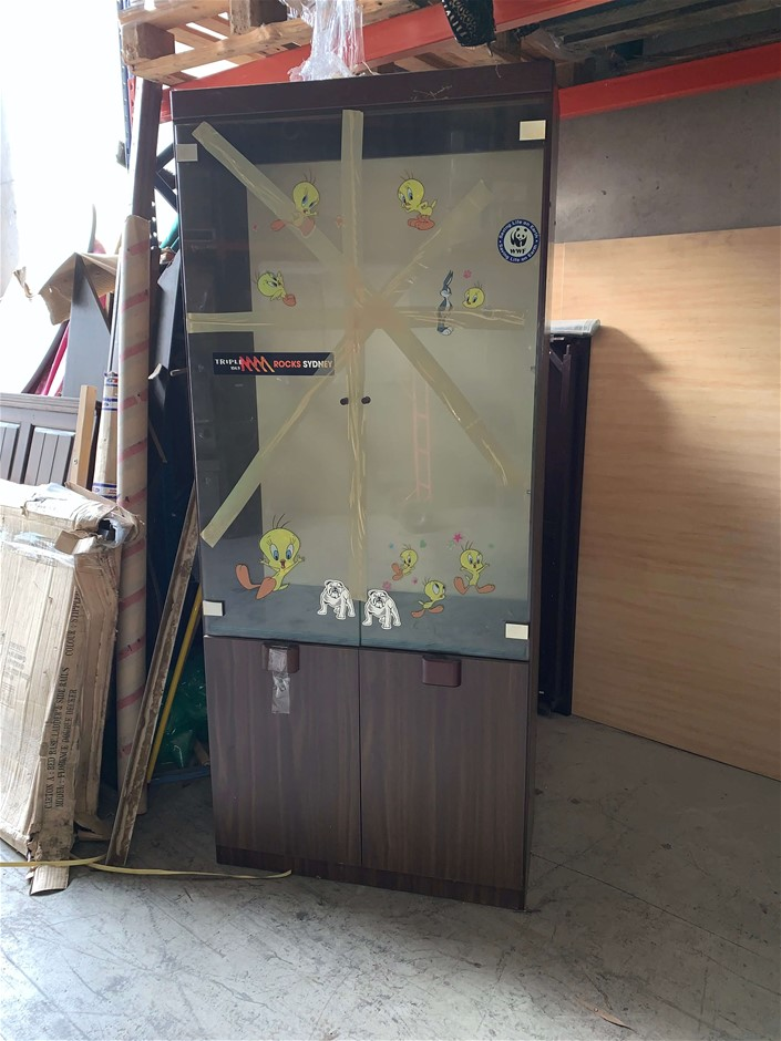 Glass Display Cabinet w/ Tweety Stickers, Compressed Pine, Top Glass Doors,