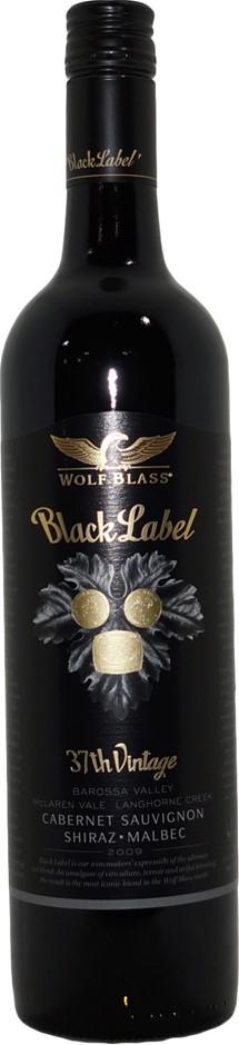 Wolf Blass Black Label 37th Cab Sav Shiraz Malbec 2009 (1x 750mL), SA.