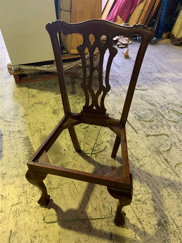 Chippendale Dining Chair, Mahogany, Hand Carved, No Seat, Damaged, Require