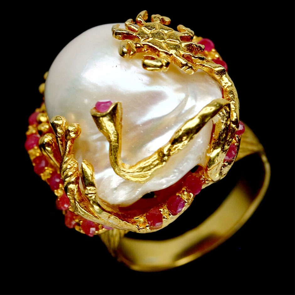 Striking Genuine Pearl & Ruby Statement Ring