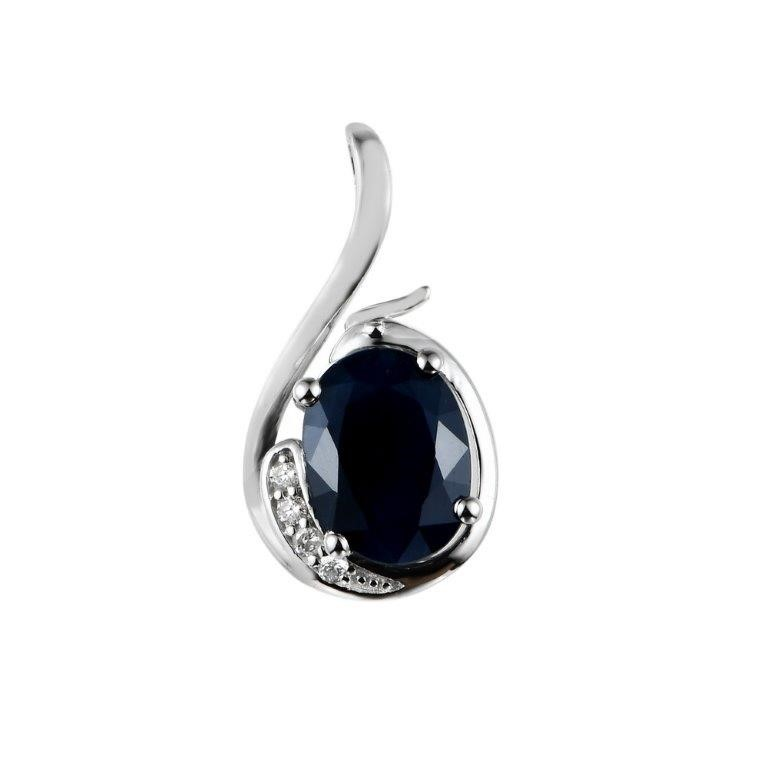 9ct White Gold, 1.50ct Blue Sapphire and Diamond Pendant