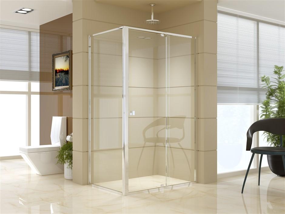 Semi Frameless Shower Screen (114~122)x 195cm & (77~80)x 195cm Side