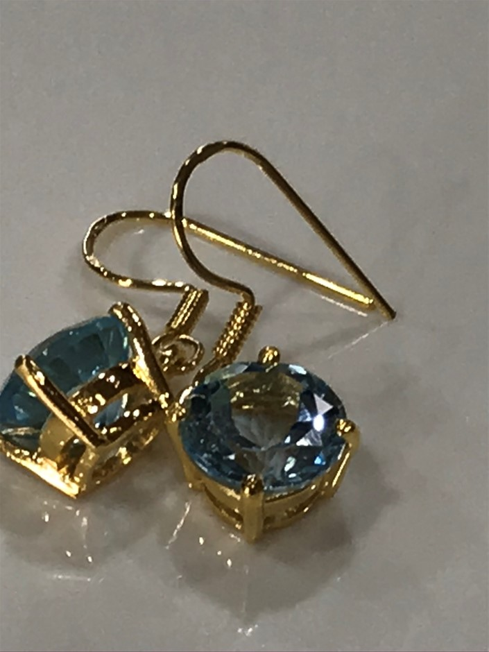 Stunning Genuine 6.00ct Blue Topaz & 18K Yellow/ Gold Vermeil Earrings