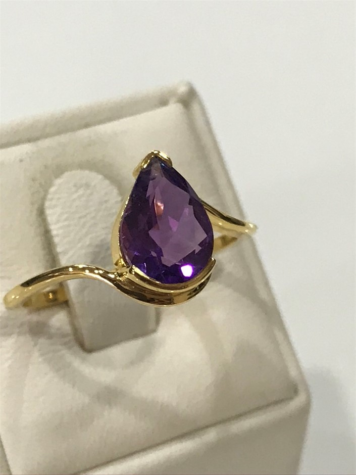 Eye Catching 2.00ct Amethyst & 18K Y/Gold Vermeil Ring Size R (8.75)