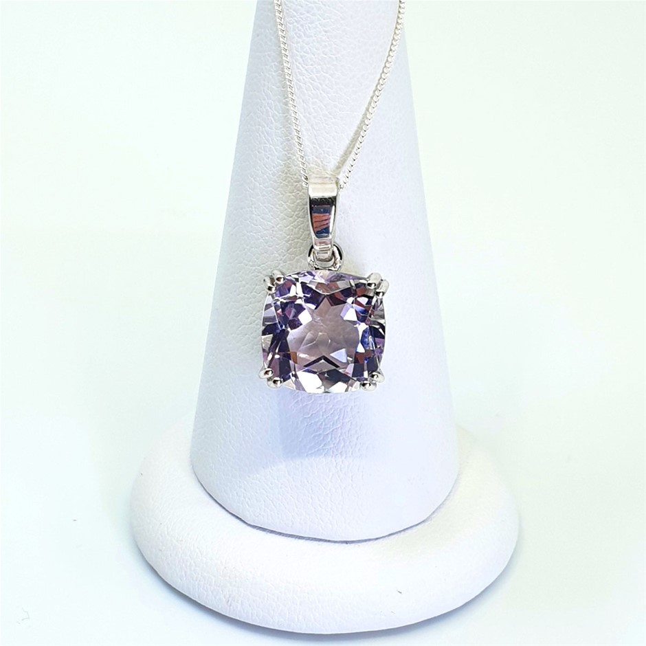 Stunning 925 Sterling Silver 6.33ct Pink Amethyst Pendant