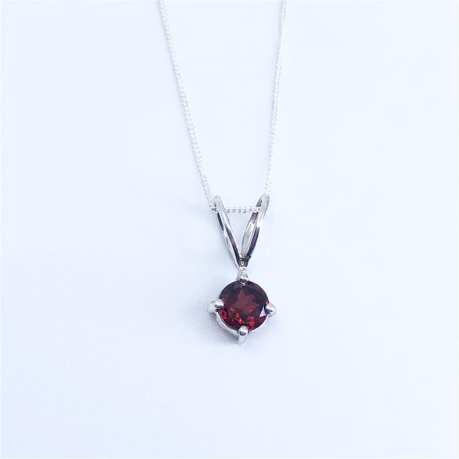 Elegant 925 Sterling Silver Garnet Pendant