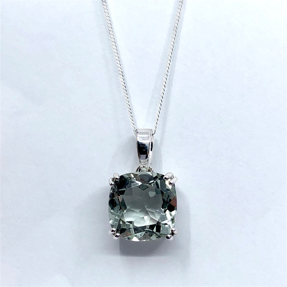 Elegant Sterling Silver 5.95ct Green Amethyst Pendant