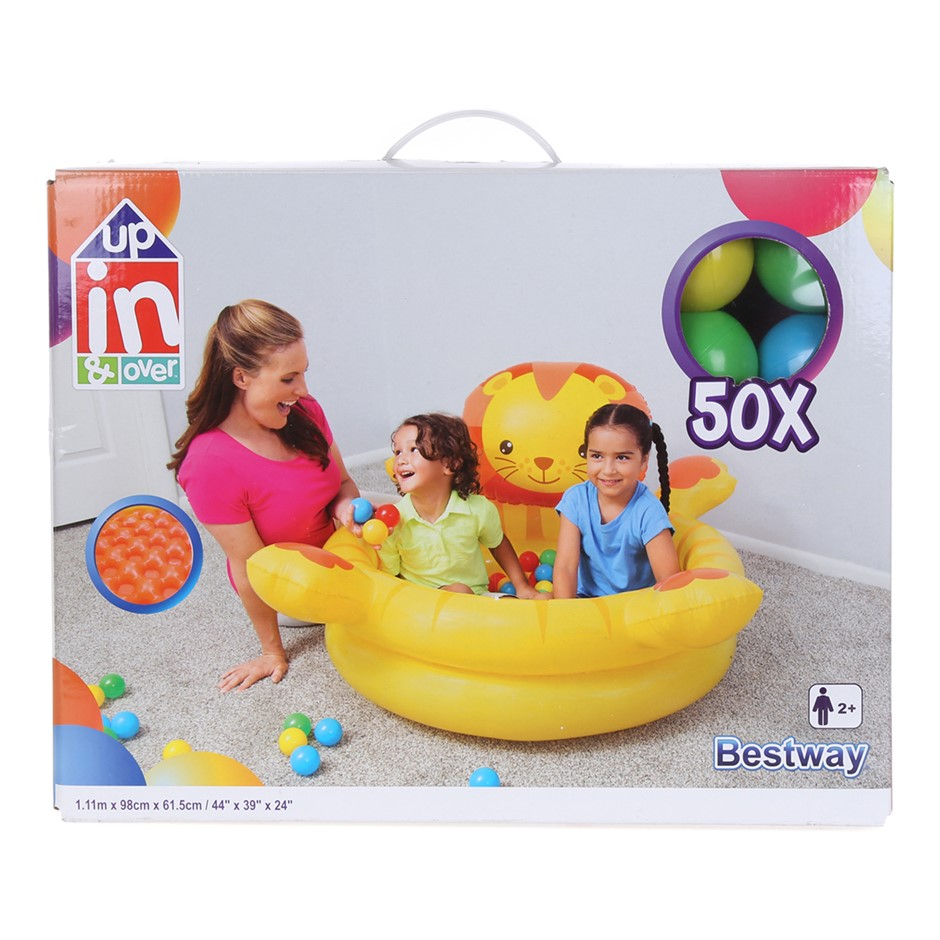 BESTWAY Up In & Over Lion Ball Pit, 1.11m x 98cm x 61.5cm. Buyers Note - Di