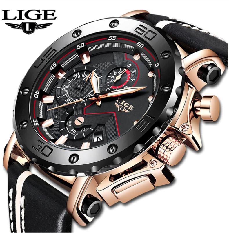 LIGE Men Casual Leather Military & Sport Quartz Multifunction Watch 9899 BG