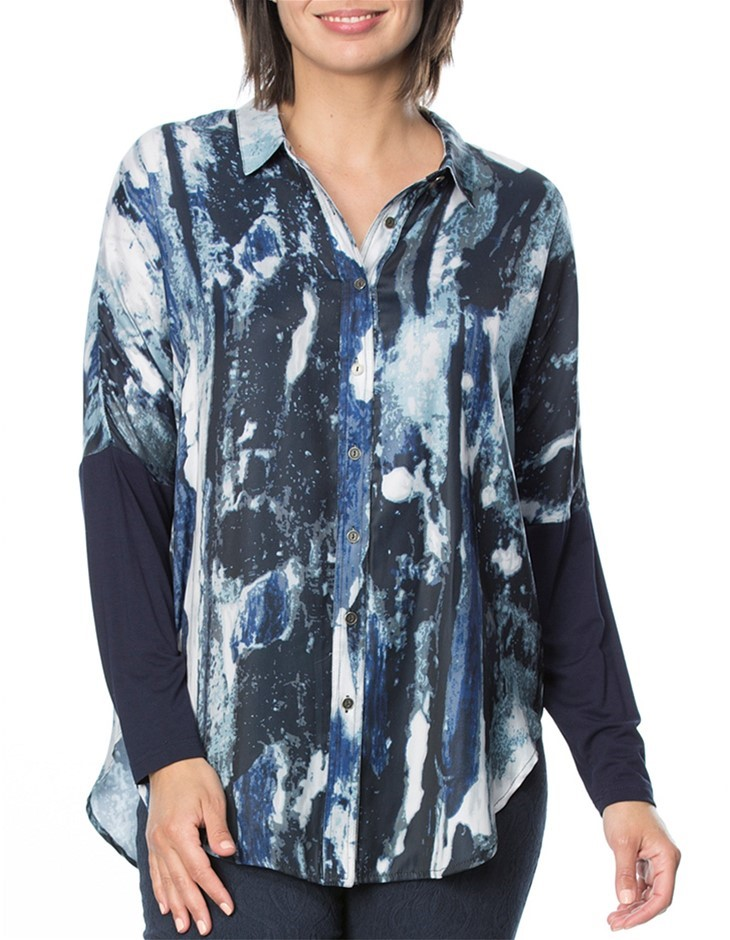 HAMMOCK AND VINE Blue Water Print Shirt. Size 10, Colour: Navy Print. 100%