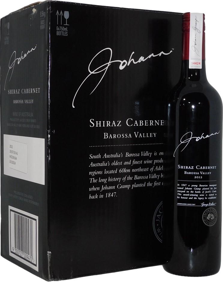 Jacobs Creek Johann Barossa Shiraz Cabernet 2012 (6x 750mL), SA. Screwcap