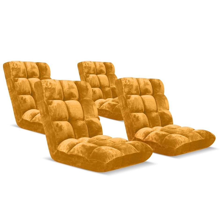 SOGA Floor Recliner Folding Lounge Sofa Folding Chair Cushion Apricot x4