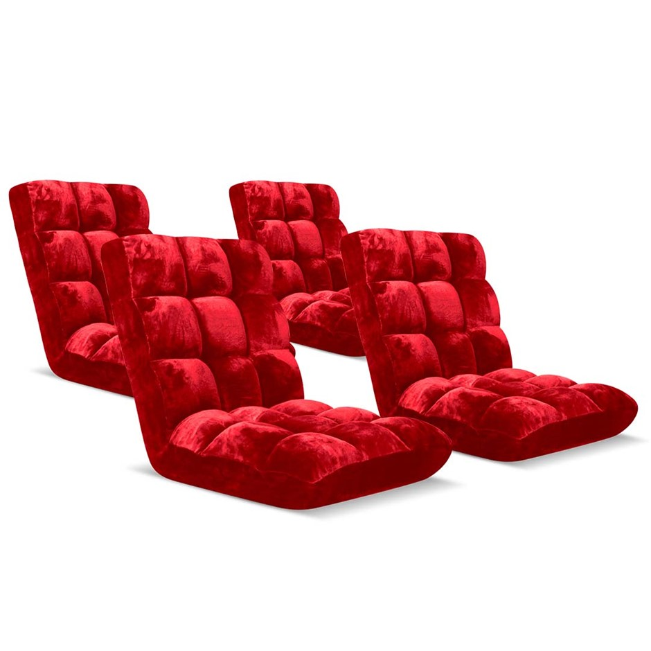 SOGA Floor Recliner Folding Lounge Sofa Folding Chair Cushion Red x4