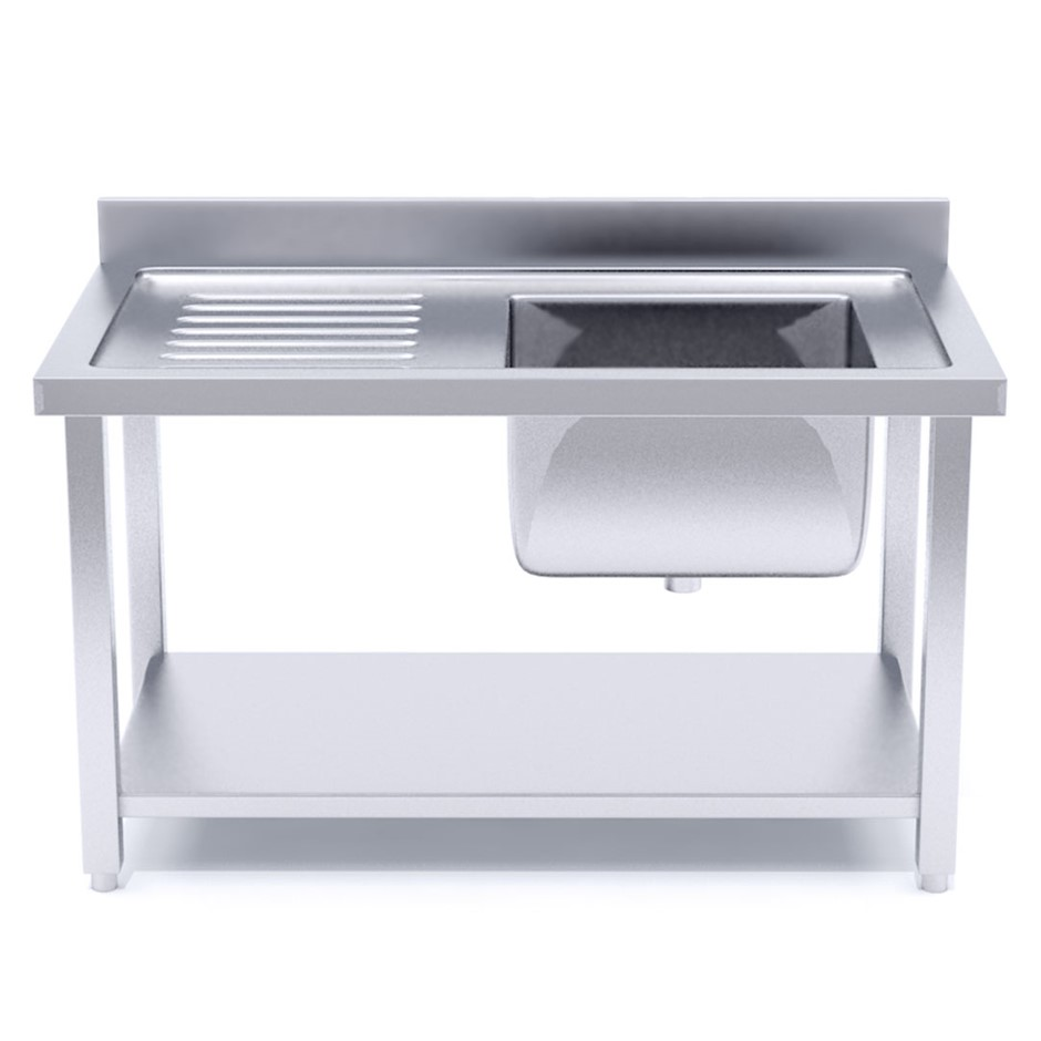 SOGA S/S Work Bench Right Sink Commercial Kitchen Food Prep Table 160*70*85