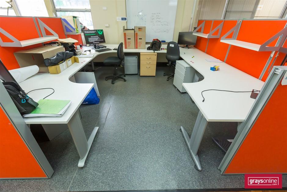 White Corner Workstation Office Desks Set