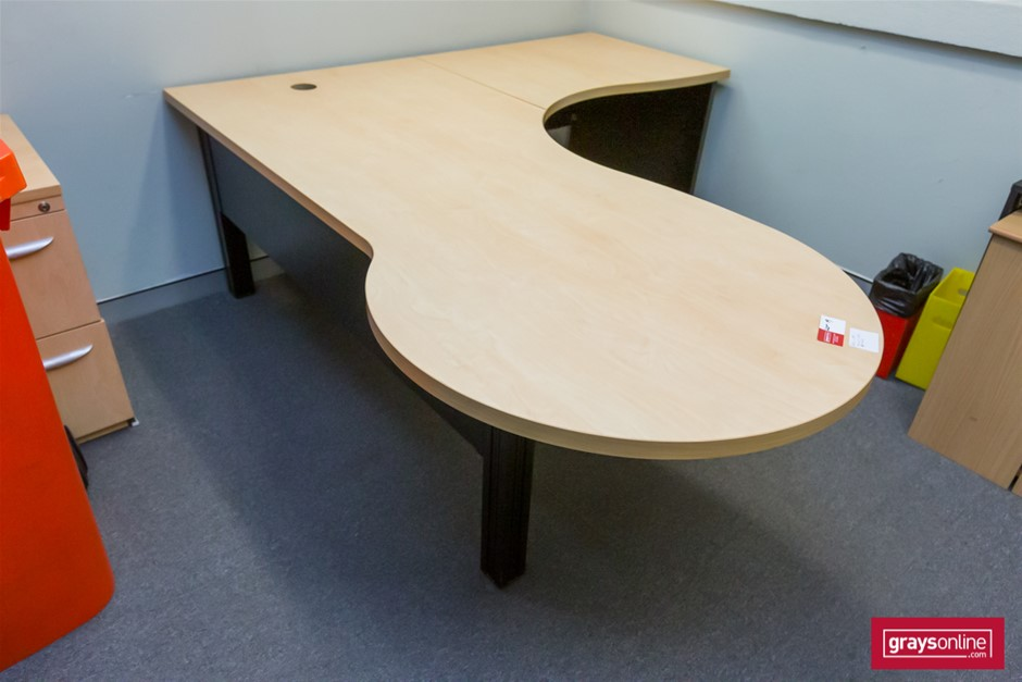 Tan Corner Workstation Office Desk (two piece)