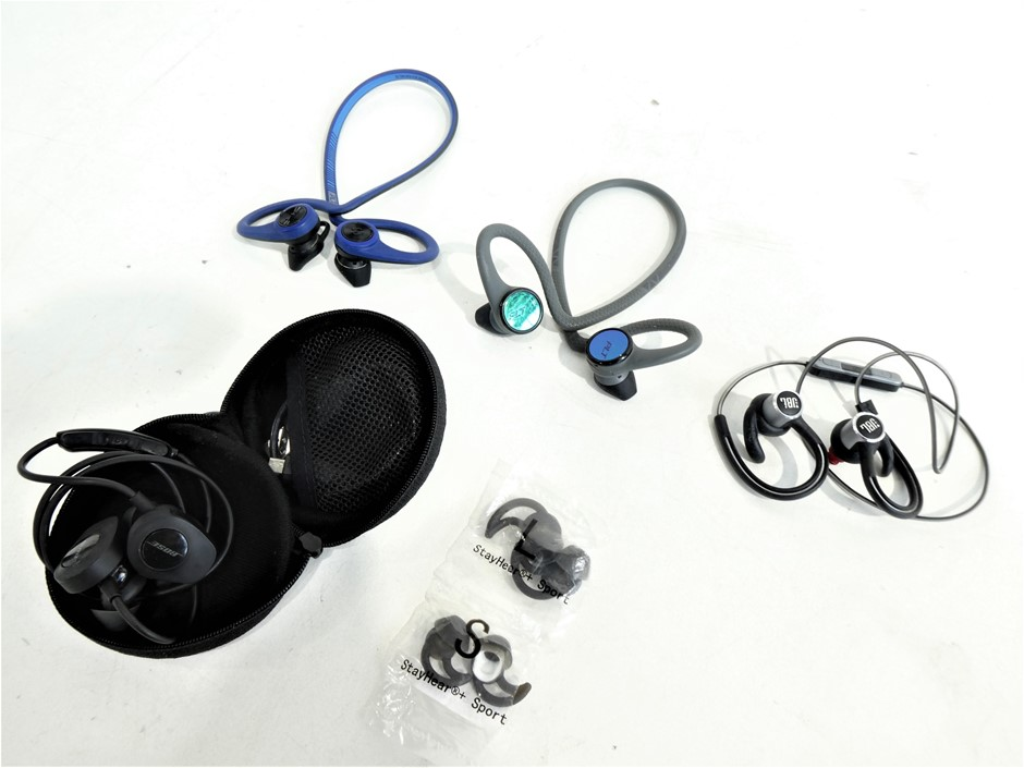 BAG CONTAINING USED & UNTESTED IN EAR HEADSETS