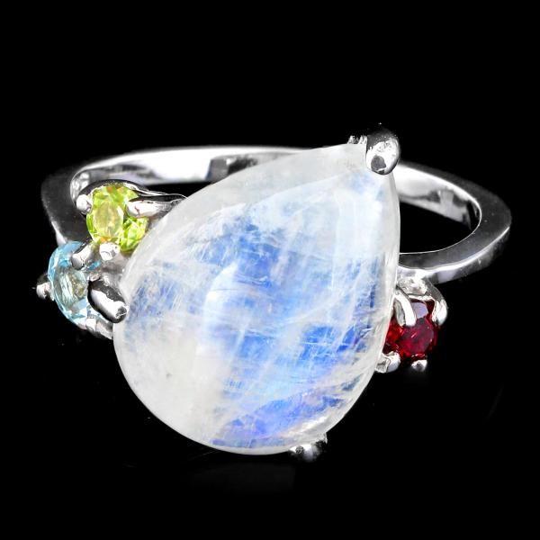 Striking Genuine Moonstone Peridot Garnet & Topaz Ring