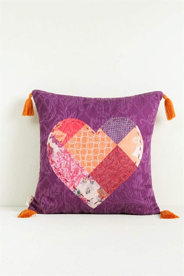 DESIGUAL Cushion Romantic Patch Filled Square Cushion. 100% Cotton. 45cm le