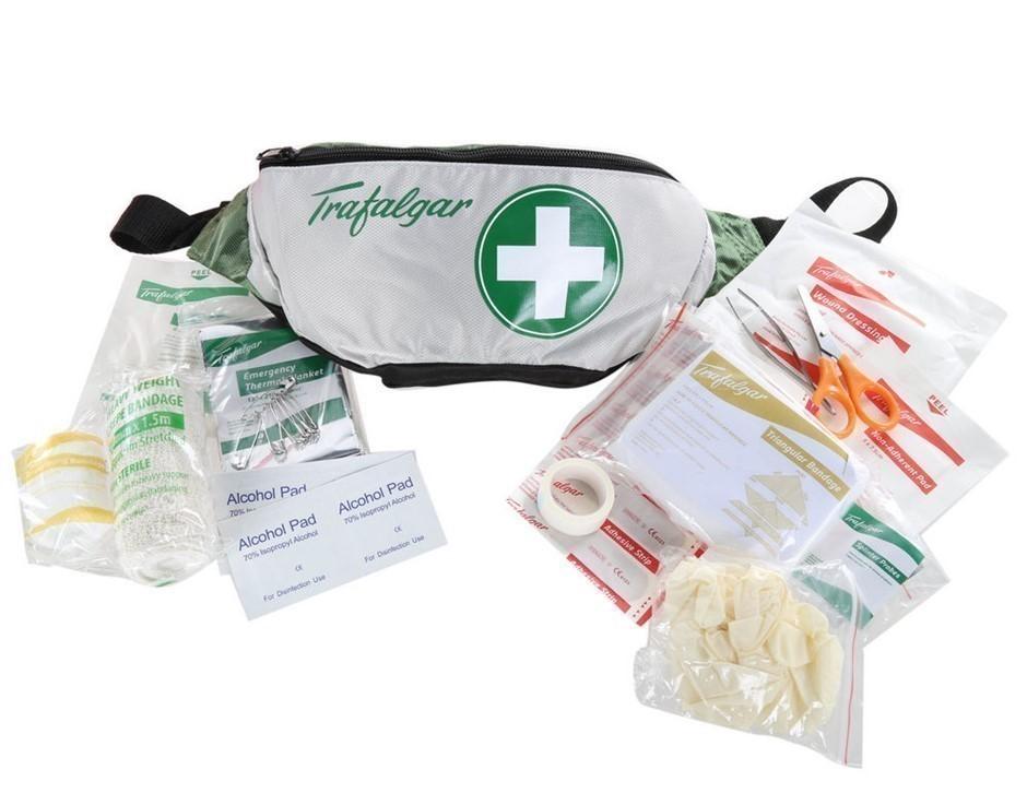 6 x TRAFALGAR Hiker`s First Aid Kits in Light Weight Bum Bag Case. (SN:1012