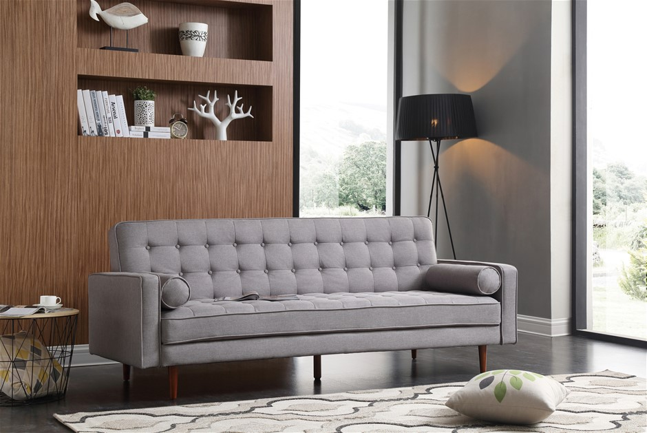Sofa Bed 3 Seater Button Tufted Lounge Set Couch in Fabric Grey Colour
