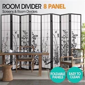 Levede 8 Panel Room Divider Screen Wood