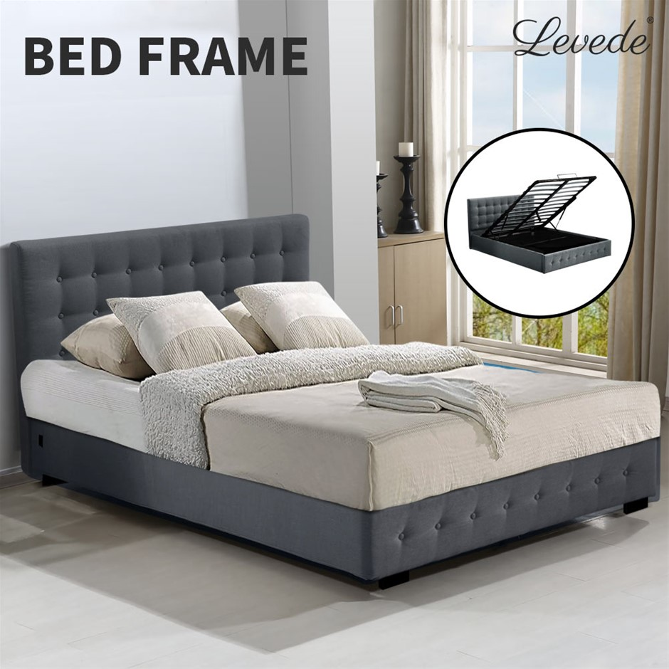 Levede Gas Lift Bed Frame Fabric Base Mattress King Size Dark Grey