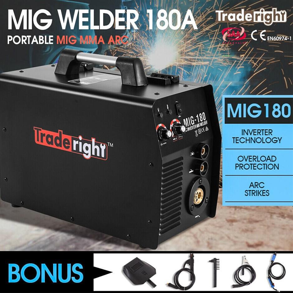 Traderight 180Amp Welder MIG ARC MAG Welding Machine Gas / Gasless Portable