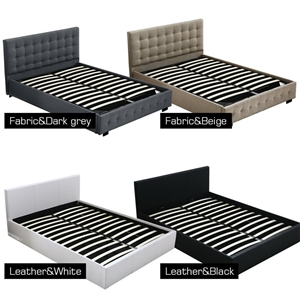 Levede Gas Lift Bed Frame Premium Fabric