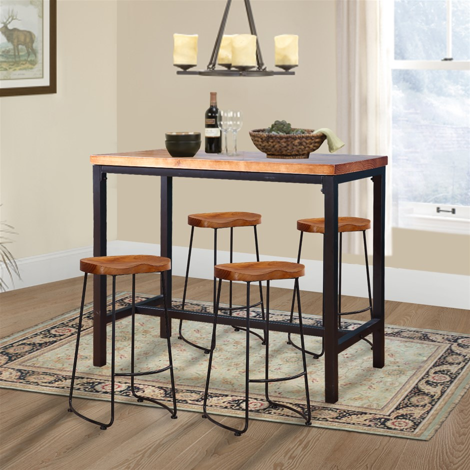 Levede 5pc Industrial Pub Table Bar Stools Wood Chair Set Home Kitchen