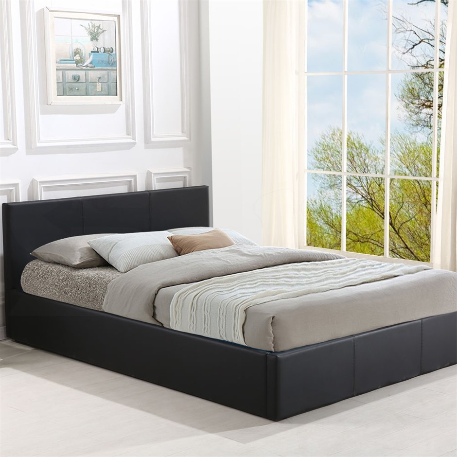 Levede Bed Frame Gas Lift Premium Leather Base Mattress Queen