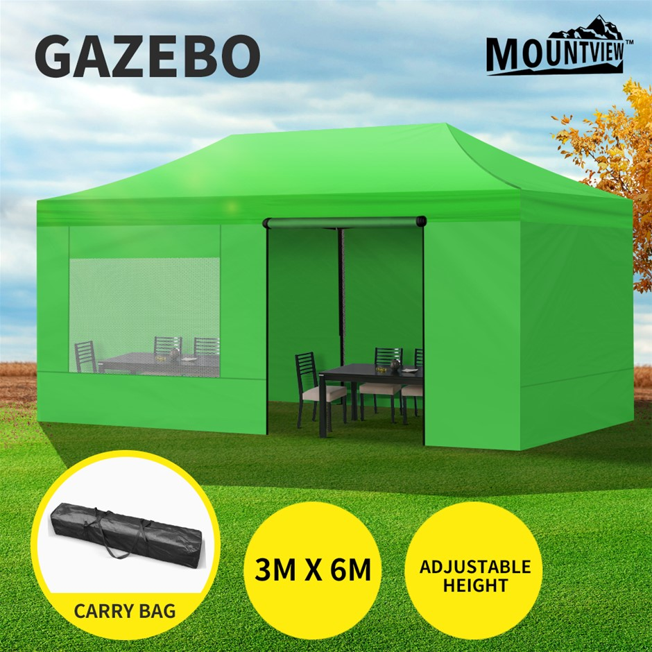 Mountview Gazebo Tent 3x6 Marquee Mesh Side Wall Outdoor Camping Canopy