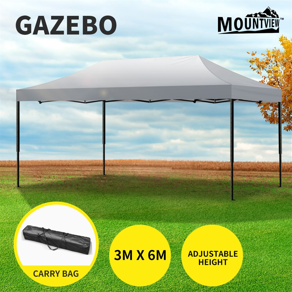 Mountview Gazebo Tent 3x6 Outdoor Marquee Gazebos Camping Canopy Silver
