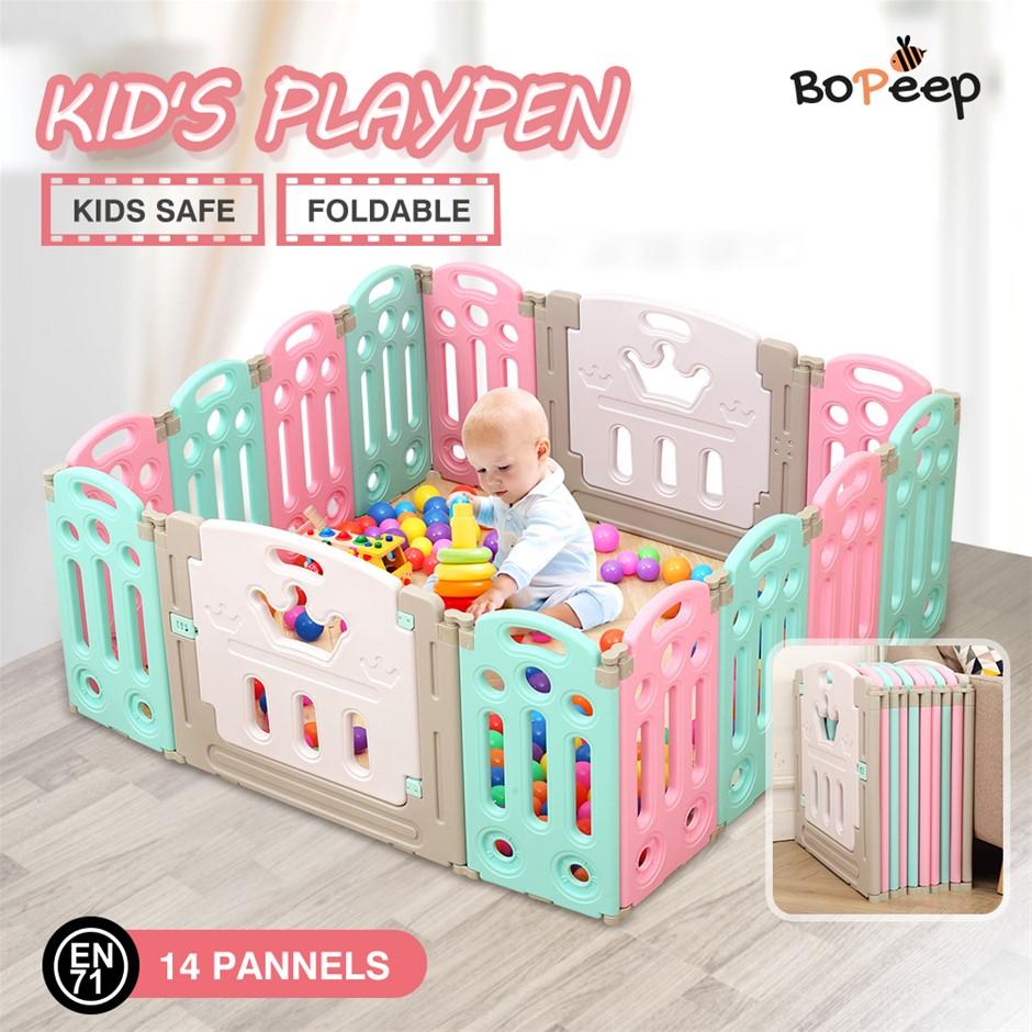 BoPeep Kids Playpen Baby Safety Gates Kid Play Pen Fence Room 14 Panels