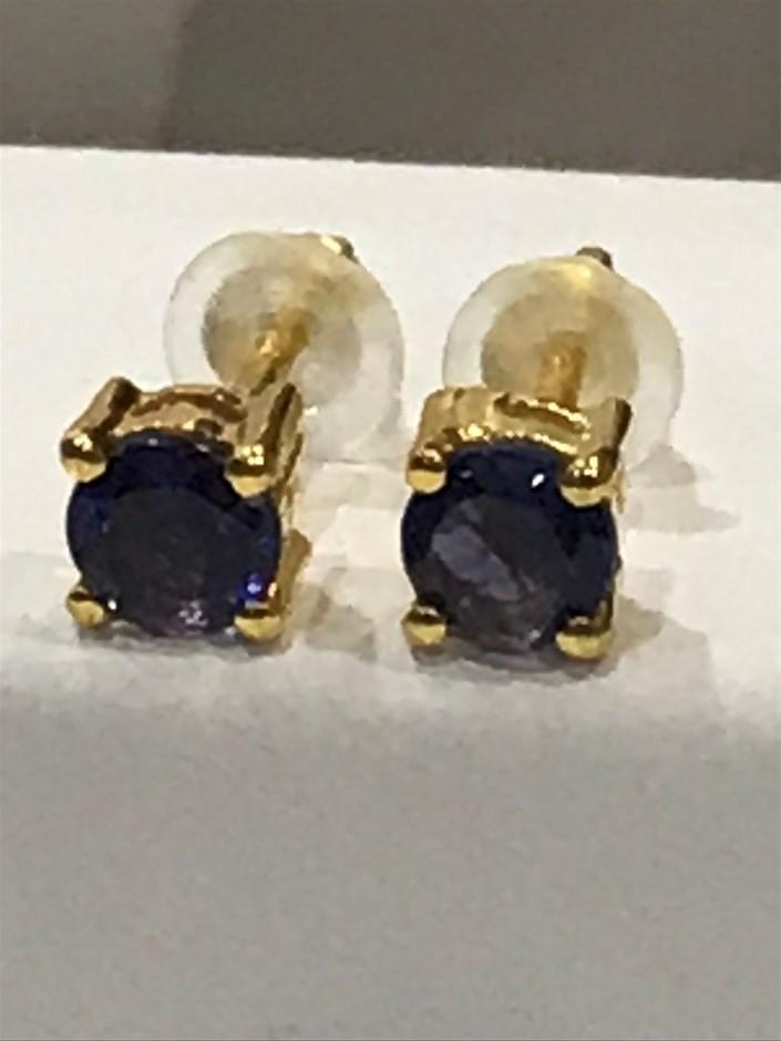 Magnificent Iolite & 18K Y/Gold Vermeil Earrings