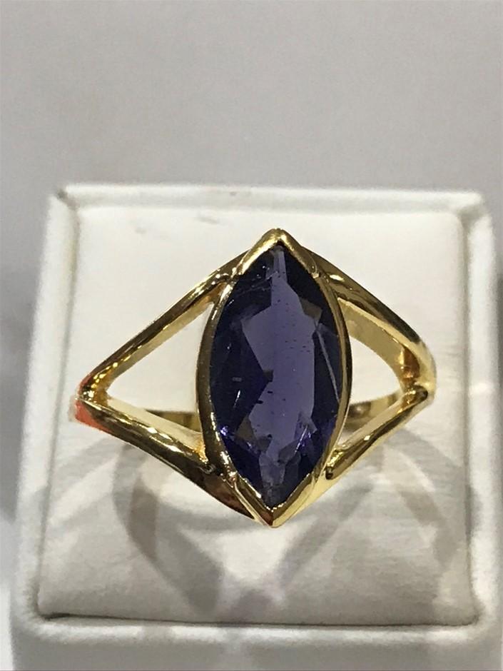 Eye Catching 2.85ct Iolite & 18K Y/Gold Vermeil Ring Size O 1/2 (7.50