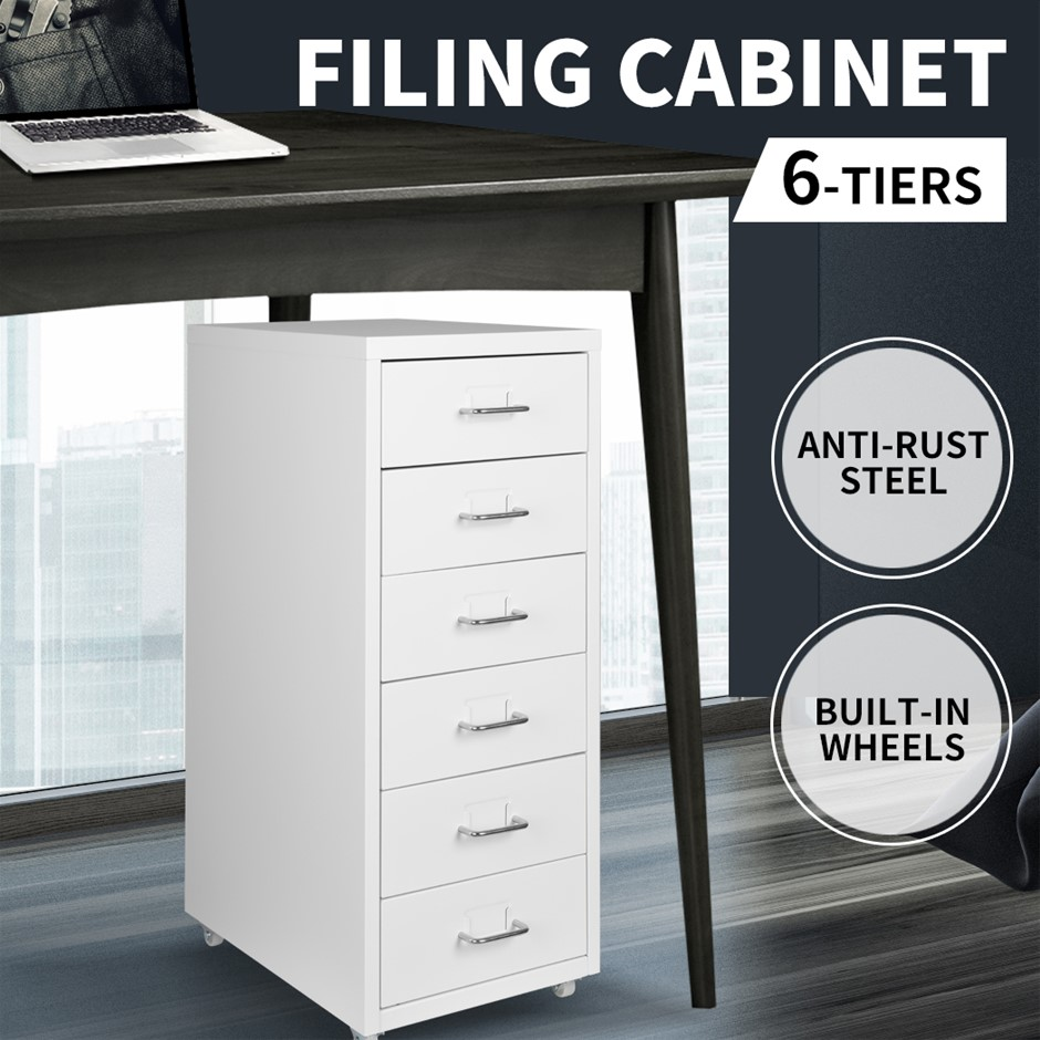 Steel Orgainer Metal File Cabinet With 6 Drawers Office Furniture AU Stock