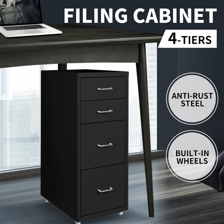 Metal File Cabinet Steel Orgainer With 4 Drawers Office Furniture Black