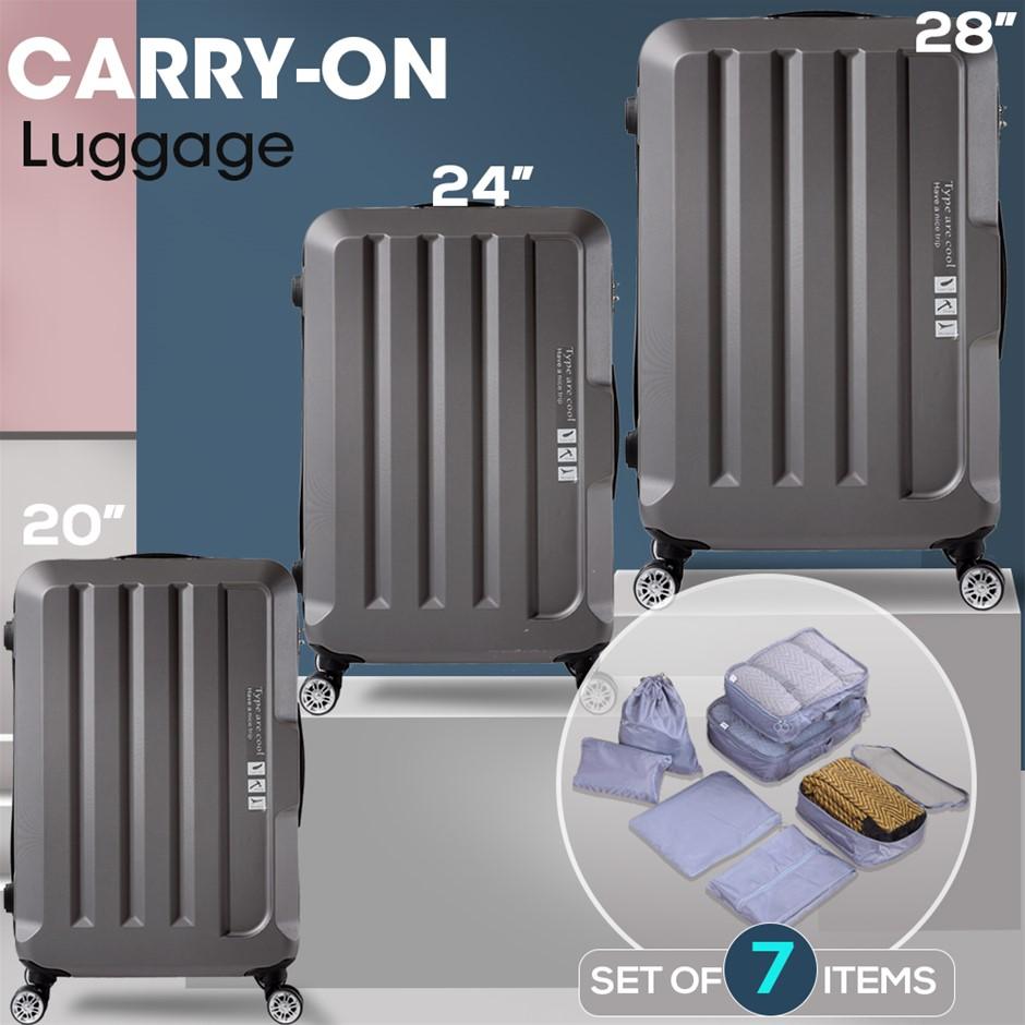 3pcs Luggage Set Travel Hard Case Lightweight Suitcase TSA lock Dark Grey