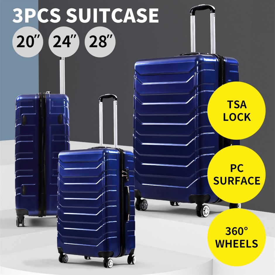 Suitcase Luggage Set 3 Piece Sets Travel Hard Cover Packing Lock Navy