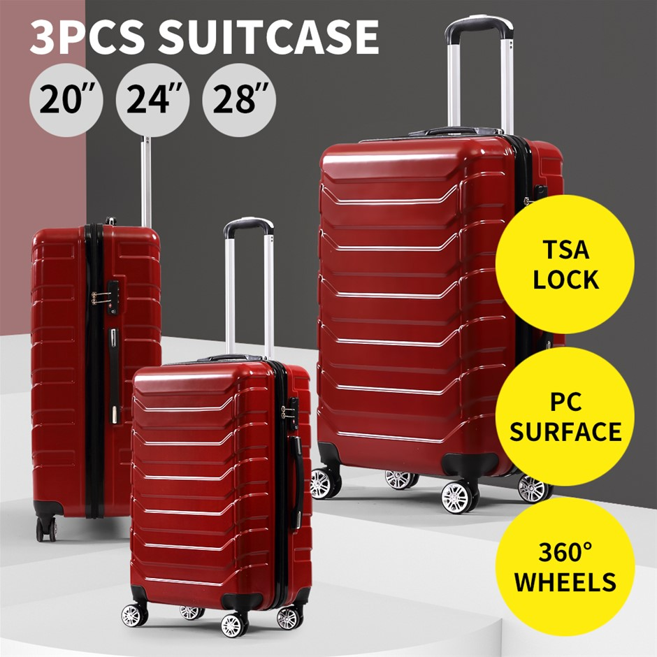 Suitcase Luggage Set 3 Piece Sets Travel Organizer Hard Cover Packing Lock