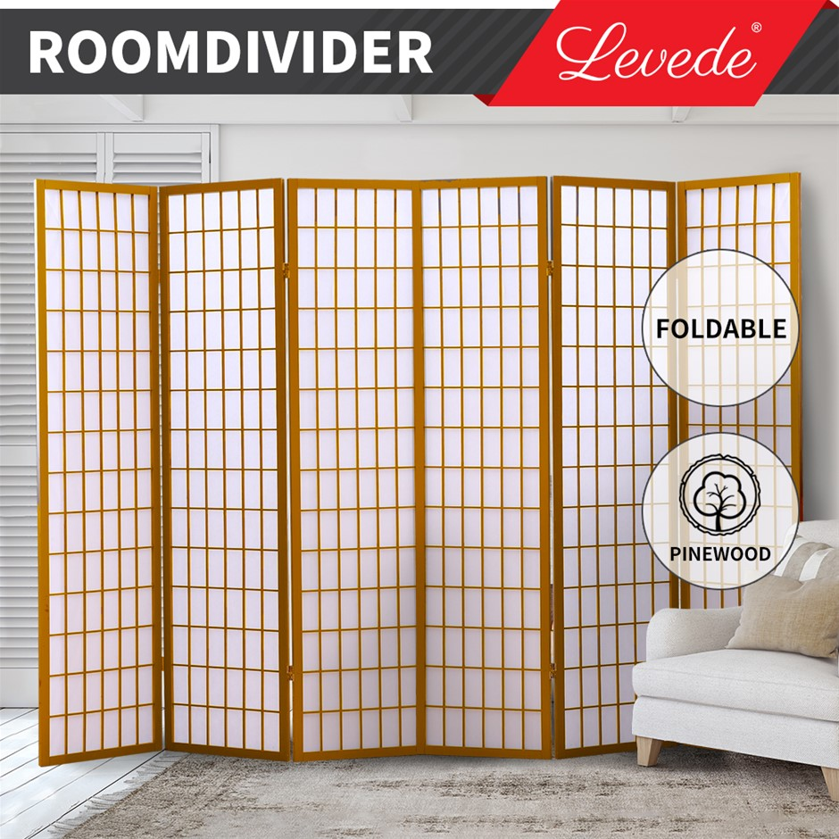Levede Room Divider Screen 6 Panel Wooden Dividers Timber Stand Natural