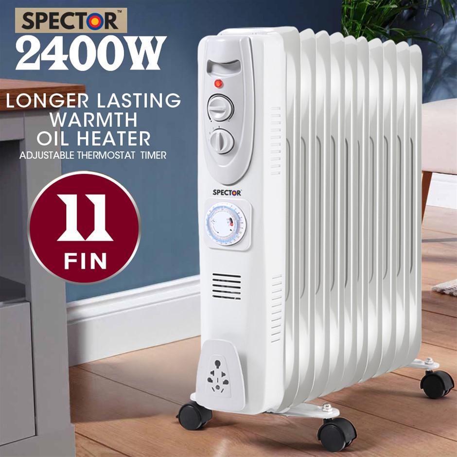 Spector 2400W Electric Portable 11 Fin Oil Heater w/24H Timer Column Heat