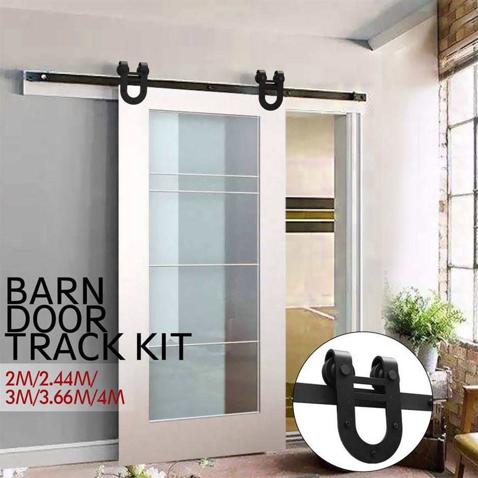 2.44M Antique Style Single Sliding Barn Door Hardware Track Roller Kit