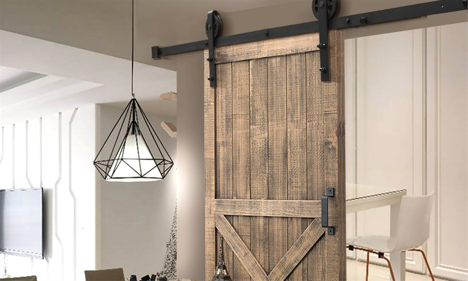 3M Antique Classic Style Single Sliding Barn Door Hardware Track Roller Kit