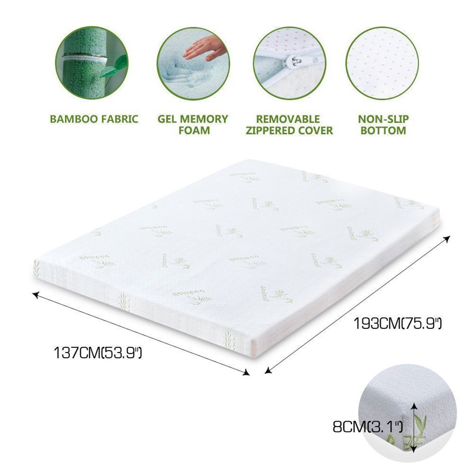 DreamZ 8cm Thickness Cool Gel Memory Foam Mattress Topper Bamboo Double